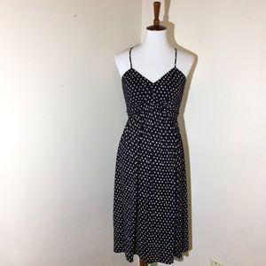 💚 LOFT Womens Dress XS Blue Creme Polka Dot Maxi